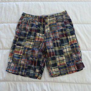 "J Crew Madras Shorts EUC 33""w Rare size"